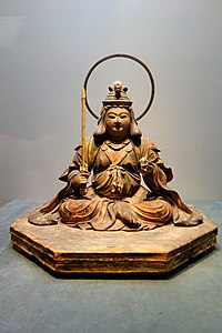 Seated Benzaiten (Sarasvati), Kamakura period, 13th century, wood with polychromy, cut gold leaf, and inlaid crystal eyes - Tokyo National Museum - DSC05088.JPG