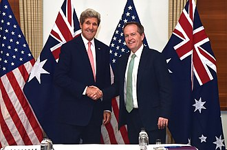 Bill Shorten - Shorten (right) meeting with United States Secretary of State John Kerry, in 2014