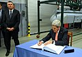 Secretary Kerry Signs the Guestbook at the Lask Polish Airbase (10691540824).jpg