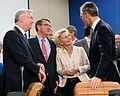 Secretary of State for Defense Michael Fallon (left), Secretary of Defense Ash Carter, German Minister of Defense Ursula von der Leyen and NATO Secretary General Jens Stoltenberg meet 151008-D-LN567-076.jpg