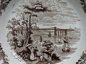 Menai Suspension Bridge - The bridge as pictured in a Staffordshire stoneware plate in the 1840s. (From the home of J L Runeberg)