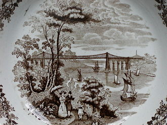 Menai Suspension Bridge - The bridge as pictured in a Staffordshire stoneware plate in the 1840s. (From the home of J L Runeberg)