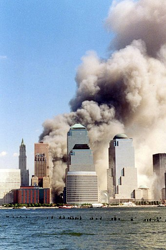 Collapse of the towers as seen from across the Hudson River in New Jersey September 11 2001 just collapsed.jpg