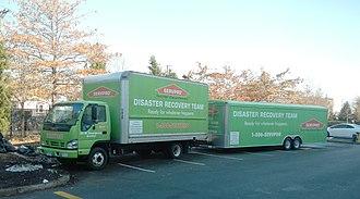 Servpro - Green Van in Brooklyn after Hurricane Sandy