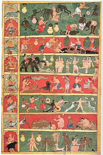 Jain cosmology - 17th century cloth painting depicting seven levels of Jain hell and various tortures suffered in them. Left panel depicts the demi-god and his animal vehicle presiding over the each hell.