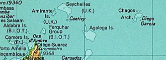 British Indian Ocean Territory - The British Indian Ocean Territory prior to the Seychelles's independence in 1976. The land at bottom left is the northern tip of Madagascar. (Desroches is not labelled, but is a part of the Amirante Islands.)