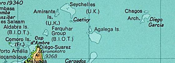 The British Indian Ocean Territory prior to the Seychelles's independence in 1976. The land at bottom left is the northern tip of Madagascar. (Desroches is not labelled, but is a part of the Amirante Islands.) SeychellesBIOT1970.jpg
