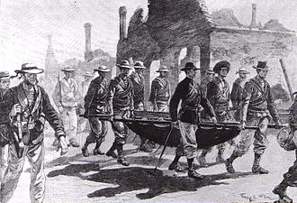 Seymour Expedition - Admiral Seymour returning to Tianjin with his wounded men.
