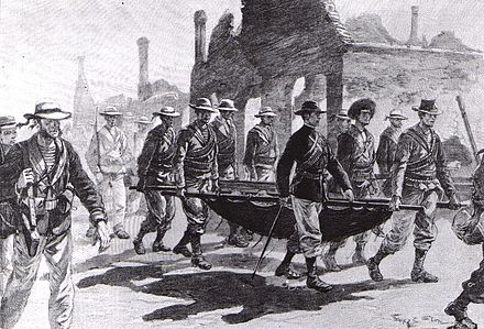 Admiral Seymour returning to Tianjin with his wounded men on 26 June SeymourTianjin.jpg