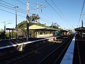 Sherwood railway station, Brisbane - Southbound view from Platform 3 in August 2012