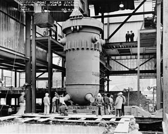 Reactor pressure vessel - The reactor vessel used in the first commercial nuclear power plant, the Shippingport Atomic Power Station. Photo from 1956.