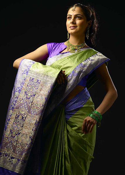 File:Shraddha Arya wearing a Sari, traditional Indian attire.jpg