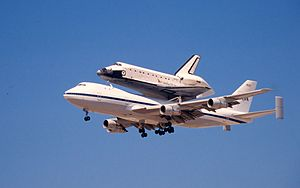 STS-76 - Shuttle Atlantis arriving at Davis-Monthan AFB, Tucson AZ during the return trip from Edwards AFB to Kennedy Space Center April 1996.