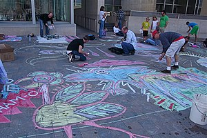 Sidewalk Chalk Flood 2009, another Rob Bliss U...