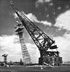 Signal tower at Pearl Harbor is removed in 1950.jpg