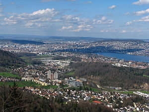 Sihl Valley - Sihl valley to the northwest, Adliswil, Zürich-Leimbach, inner city, Käferberg (to the left) and Zürichberg, and Limmat Valley, as seen from Felsenegg