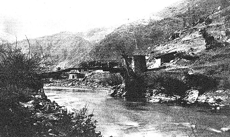 Sikhim and Bhutan - Bridge over the Am-Mo-Chu at Pema.jpg
