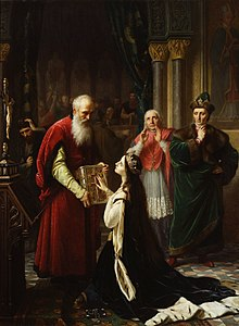 A crowned young lady on her knees with her had on the Bible which is held by an old bearded man