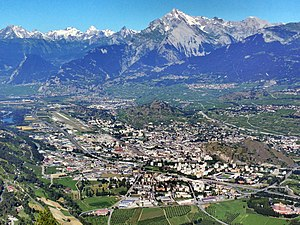 Sion, Switzerland - Sion, the valley of the Rhône and the Haut de Cry (2969 m, middle right front) and the Grand Chavalard (2899 m, on the very left)
