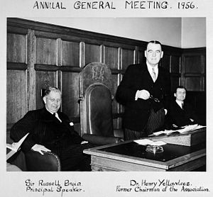 Russell Brain, 1st Baron Brain - Russell Brain with Dr. Henry Yellowlees at the Mental After Care Association AGM, 1956
