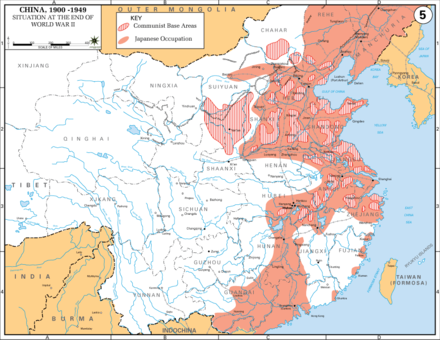 Japanese occupation (red) of eastern China near the end of the war, and Communist bases (striped) Situation at the End of World War Two.PNG
