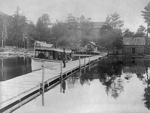 Blue Mountain Lake, New York - Image: Small steamboat TOWAHLOONDAH 1889 Stoddard