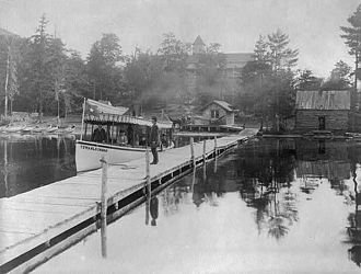 Blue Mountain Lake (New York) - Image: Small steamboat TOWAHLOONDAH 1889 Stoddard