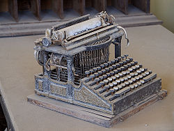 This Smith Premier typewriter, purchased around the end of the 19th century, was found abandoned in the Bodie ghost town. This early example had separate keys for upper- and lower-case letters.