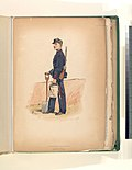 Soldier in blue uniform with red trim, carrying a rifle, a shovel, and a cannister (NYPL b14896507-76696).jpg