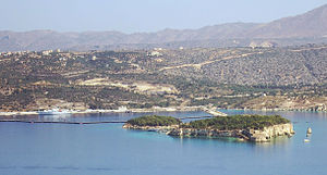 Souda (island) - The islet of Souda, to the right of a smaller islet called Leon, in Souda bay.
