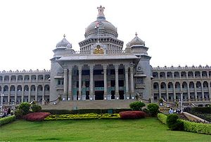 The Vidhana Soudha, the seat of Karnataka's le...