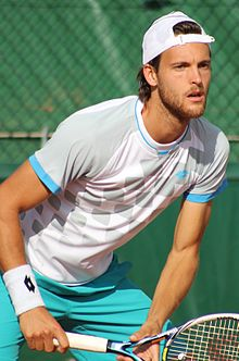 João Sousa prepares to return a serve during the 2015 French Open