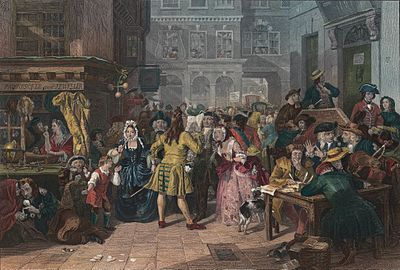 "Hogarthian image of the 1720 ""South Sea Bubble"" from the mid-19th century, by Edward Matthew Ward, Tate Gallery South Sea Bubble.jpg"