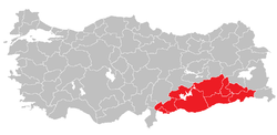 Location of Southeast Anatolia Region