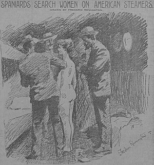 "Yellow journalism - Male Spanish officials strip search an American woman tourist in Cuba looking for messages from rebels; front page ""yellow journalism"" from Hearst (Artist: Frederic Remington)"