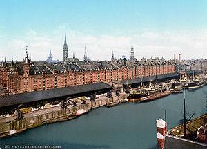 The Speicherstadt in Hamburg around 1890.