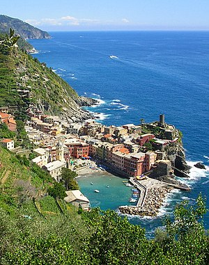 The rocky cliffs of the Cinque Terre in Liguria.