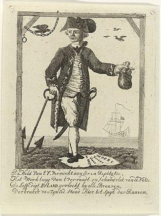 Affair of Fielding and Bylandt - The Dutch commander Lodewijk van Bylandt depicted in a caricature during the 1782 Brest Affair