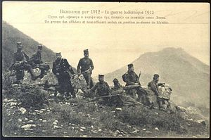 Serbia in the Balkan Wars - Serbian officers above Lezhë.