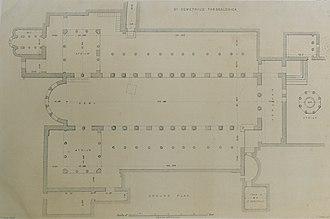 Hagios Demetrios - St Demetrius, Thessalonica Ground plan - Texier Charles - 1864