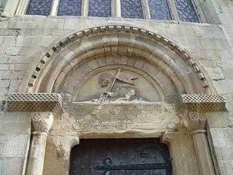 St Mary de Crypt Church, Gloucester - agnus dei over the door