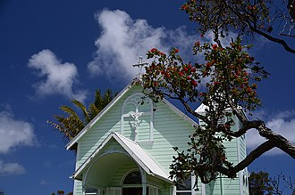 Star of the Sea Painted Church - Star of the Sea Painted Church with blooming ʻŌhiʻa