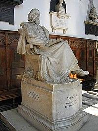 Statue of Lord Tennyson in the chapel of Trinity College, Cambridge.