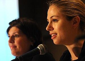 Stephanie Agresta and Sarah Austin speaking at...