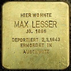 Photo of Max Lesser brass plaque
