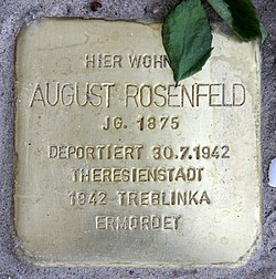 Photo of August Rosenfeld brass plaque