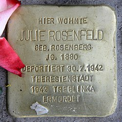 Photo of Julie Rosenfeld brass plaque