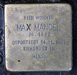 Photo of Max Mandel brass plaque