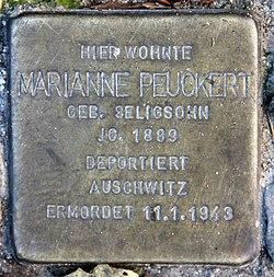 Photo of Marianne Lisbeth Peuckert brass plaque