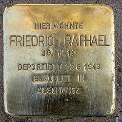 Photo of Friedrich Raphael brass plaque